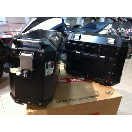 TREKKER OUTBACK 48 Valigie laterali set coppia di valigie Trekker Outback, in alluminio Nero 48 lt.